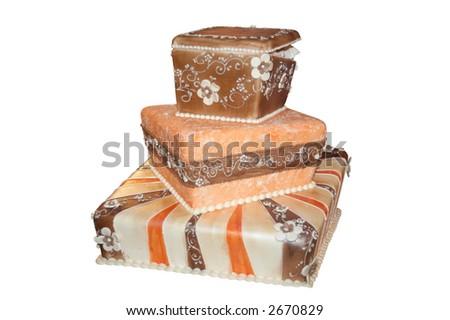 Wedding cake isolated over white - stock photo