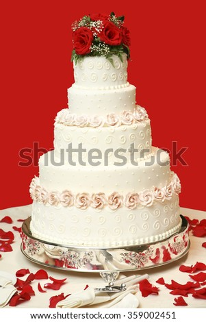 Wedding cake  on red background