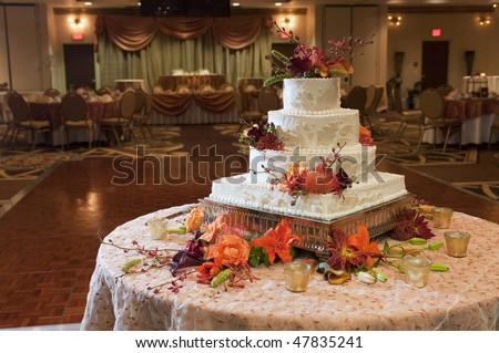 Wedding cake reception party table - stock photo