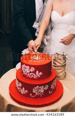 wedding cake red - stock photo