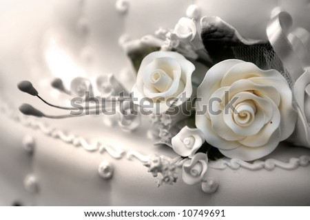 wedding cake - sepia - stock photo