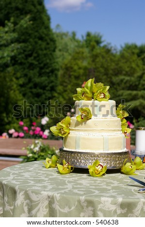 Wedding cake under blue sky - stock photo