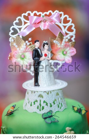 Wedding cake with color background cheerful and attractive. Impact background color and mood to this wedding cake - stock photo