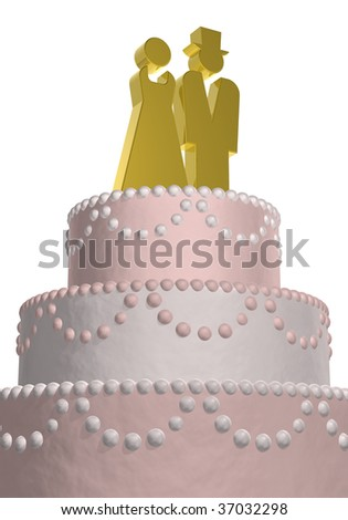 wedding cake with golden symbols male and female