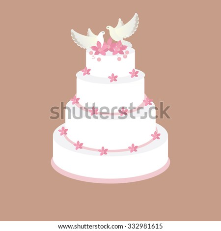 Wedding cake with pink flowers and two pigeons raster on brown background, wedding invitation .