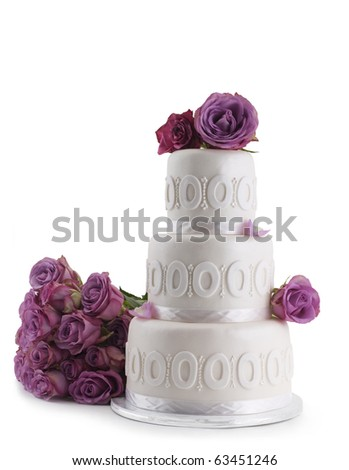Wedding cake with Rose isolated on white background - stock photo