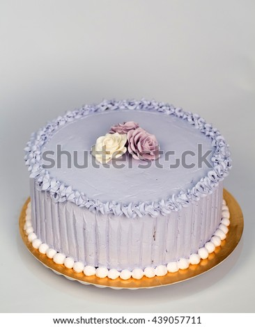 Wedding cake with roses. - stock photo