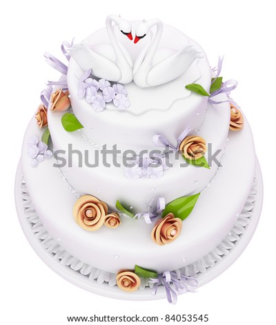 Wedding cake with roses and swans isolated over white