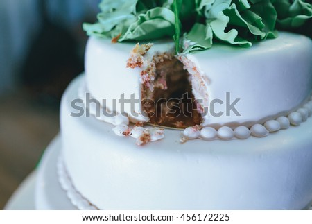 Wedding cake with the white icing - stock photo