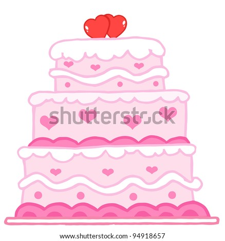 Wedding Cake With Two Red Hearts - stock photo
