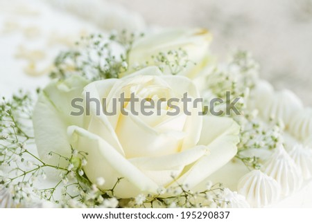 Wedding Cake With White Roses Close Up