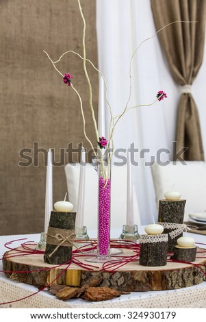 Wedding candlestick with flower decoration