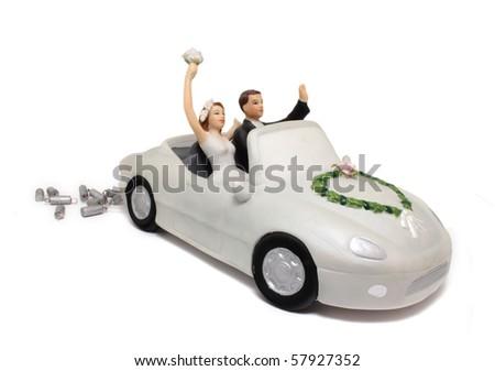 Wedding car cake topper - stock photo