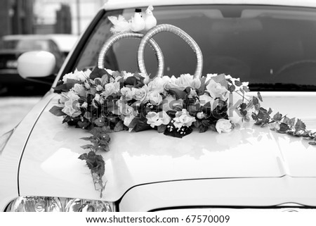 Wedding Car Decorated with Flowers - stock photo