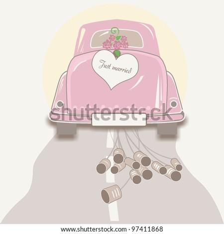 Wedding Car Driving Away - stock photo