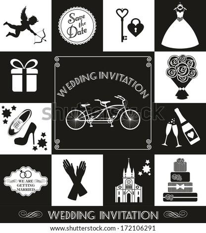 Wedding card invitation - stock photo