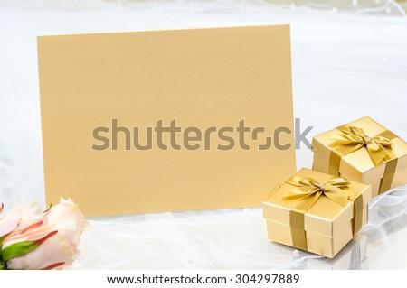 wedding card Metallic paper - stock photo