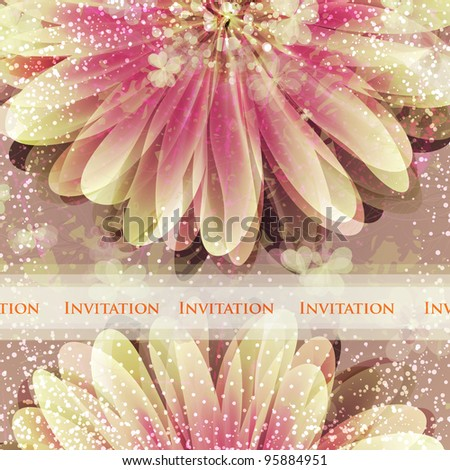 Wedding card or invitation with abstract floral background. Greeting card in grunge or retro style.  Valentine.