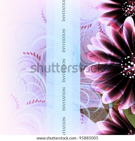 Wedding card or invitation with abstract floral background. Greeting card in grunge or retro style.  Valentine. - stock photo