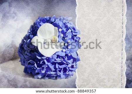 Wedding card with bouquet from blue Hydrangea and white Phalaenopsis - stock photo