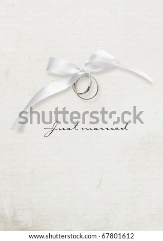 Wedding card with silver rings vertical - stock photo