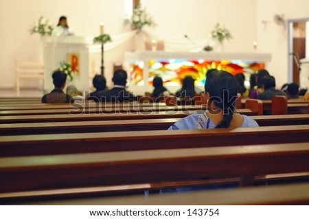 Wedding ceremony at a Catholic church in Malaysia, Asia - stock photo