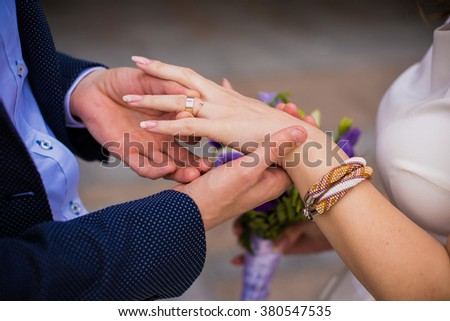 wedding ceremony exchange of rings the bride and groom - stock photo