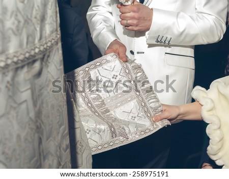 Wedding ceremony in church - stock photo