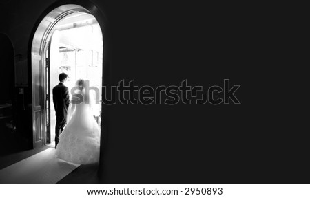 Wedding ceremony in church - stock photo
