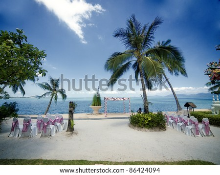 Wedding ceremony place on a tropical beach in Thailand - stock photo
