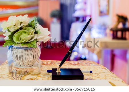 Wedding ceremony, To compliment Wedding couple - stock photo