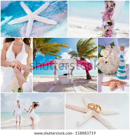 wedding ceremony when on the beach, collage - stock photo
