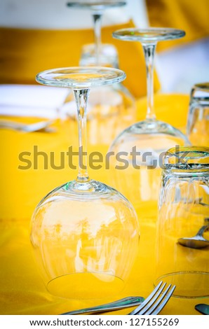 wedding chair and table setting for fine dining at outdoors - stock photo