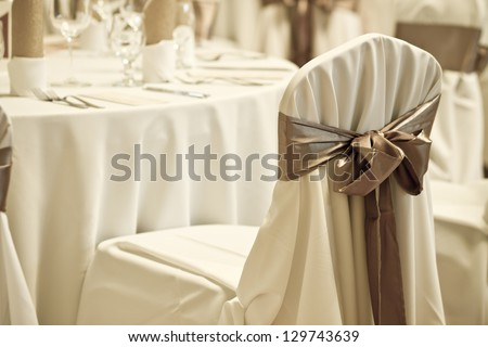 wedding chair with silk ribbon - colorized photo - stock photo