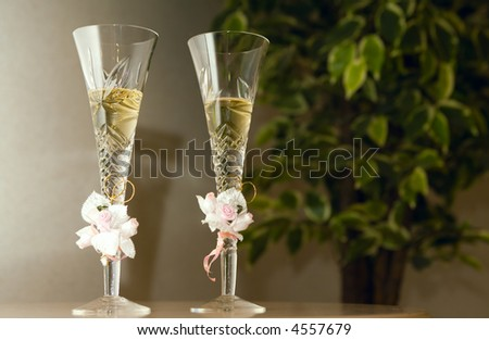 wedding champagne - stock photo