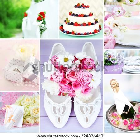 Wedding collage - stock photo