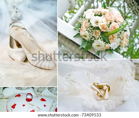 Wedding collage. Bridal shoes, wedding bouquet, rings and beige dress. Shallow DOF - stock photo