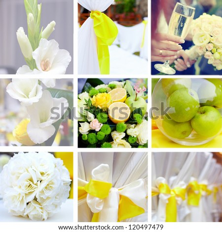 wedding collage in yellow and green color theme - stock photo