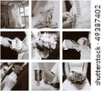 Wedding collage of nine photos, sepia - stock photo