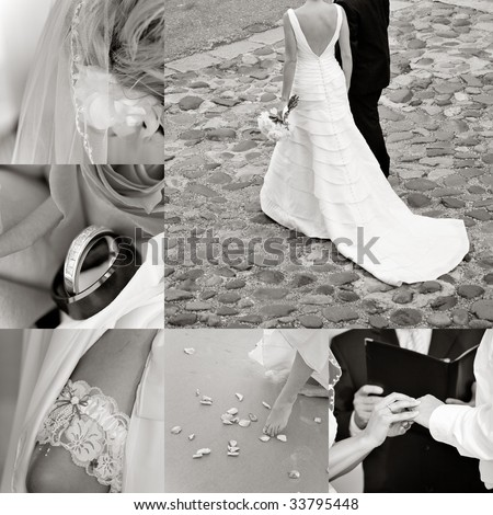 Wedding collage showcasing a couple in Charleston on a cobblestone street - stock photo