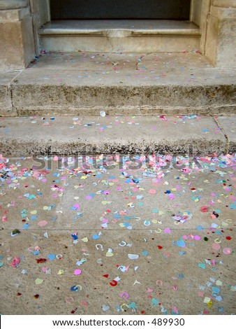Wedding confetti on ground - stock photo