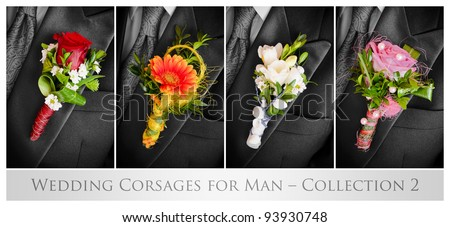 Wedding corsages for man – collection 2 - stock photo