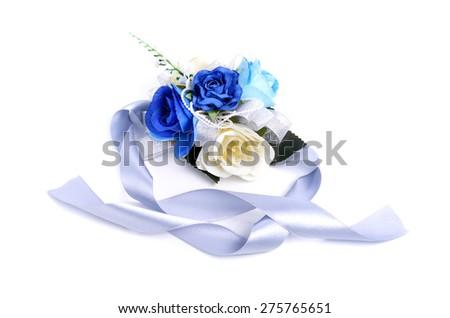 wedding corsages white background - stock photo