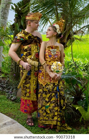 Wedding costumes bride and groom from the island of Bali
