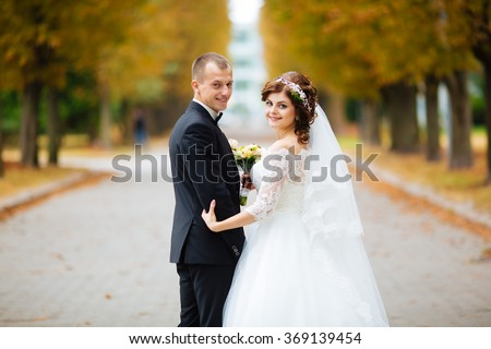stock photo wedding couple beautiful bride and groom just married close up happy bride and groom on their 369139454