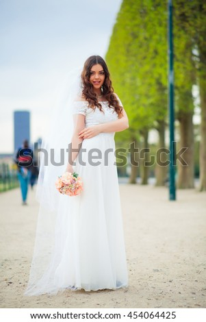wedding couple. Beautiful bride and groom. Just married. Close up. Happy bride and groom on their wedding hugging. Groom and Bride in a park. wedding dress. Bridal wedding, autumn - stock photo