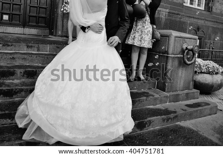 Wedding couple, bride and groom after registration in Radhus Town Hall of Copenhagen  - stock photo