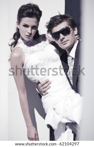 Wedding couple closeup - stock photo