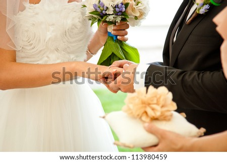 Wedding couple exchanging the rings - stock photo