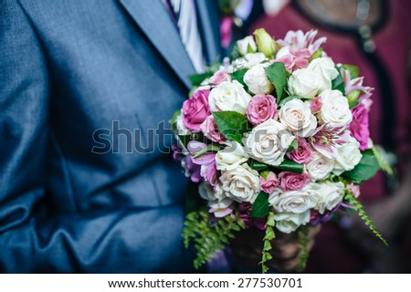 wedding couple. first meeting of bride and groom.  - stock photo